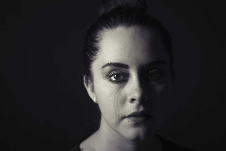 crying female black and white