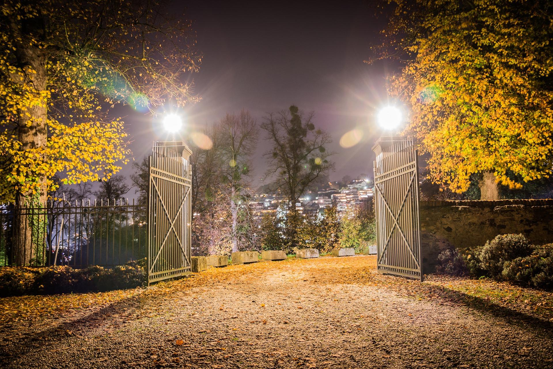 rainbow bridge gates lights trees