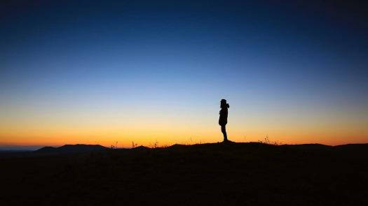 sunset lake man